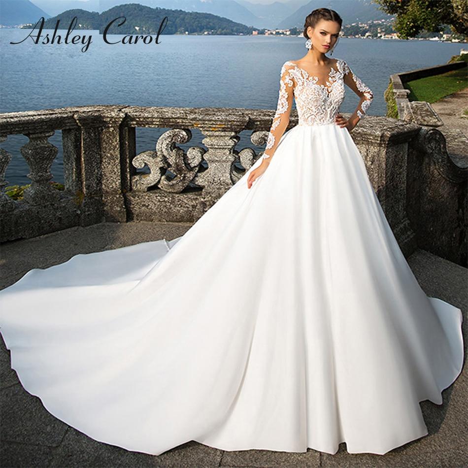 Ashley Carol Soft Satin Long Sleeve Princess Wedding Dress 2019 Sexy V-neck Illusion Vintage Wedding Gowns Vestido De Novia