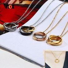 Vnox-collar con colgante de Triple anillo entrelazado para hombre y mujer, joyería de aniversario de boda, regalos de recuerdos de amor