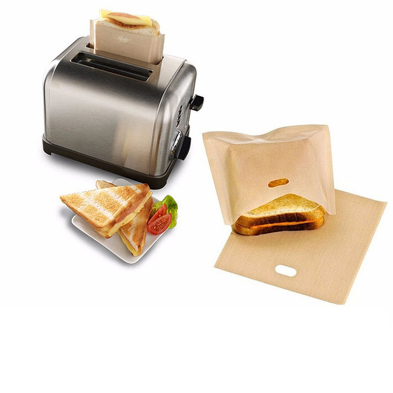 1PC Toaster Bags for Grilled Cheese Sandwiches Made Easy Reusable Non-stick Mats Baked Bread Toaster Bags 16*18cm Baking Tools image