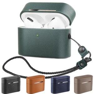 Чехол из натуральной кожи для Airpods Pro, защитный чехол для AirPods 3, Bluetooth гарнитура, коробка для хранения с ручным канатом, анти-осенняя оболочка
