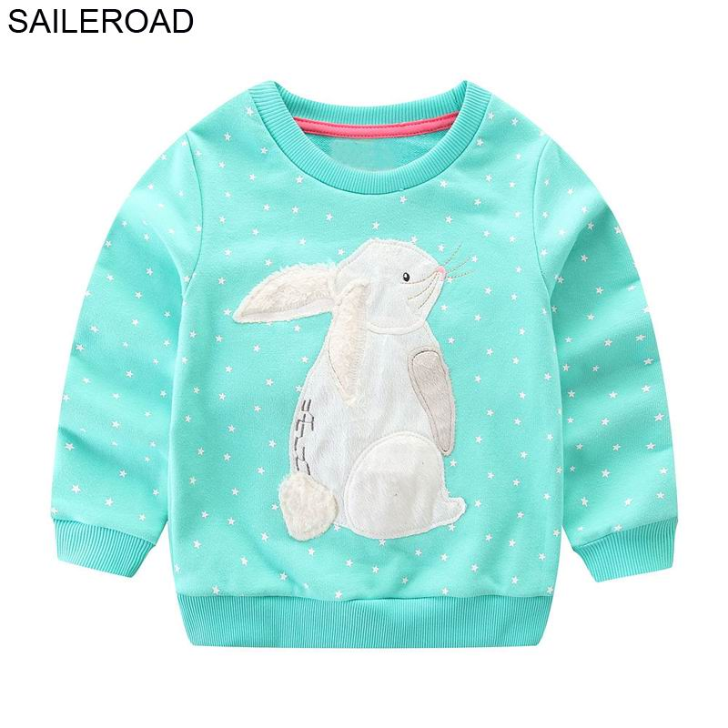 SAILEROAD 2-7years Animal Rabbit Appliques Girls Sweatshirts Child Kid Clothes Autumn Baby Girl's Clothing Boys Long Sleeve Tops 1
