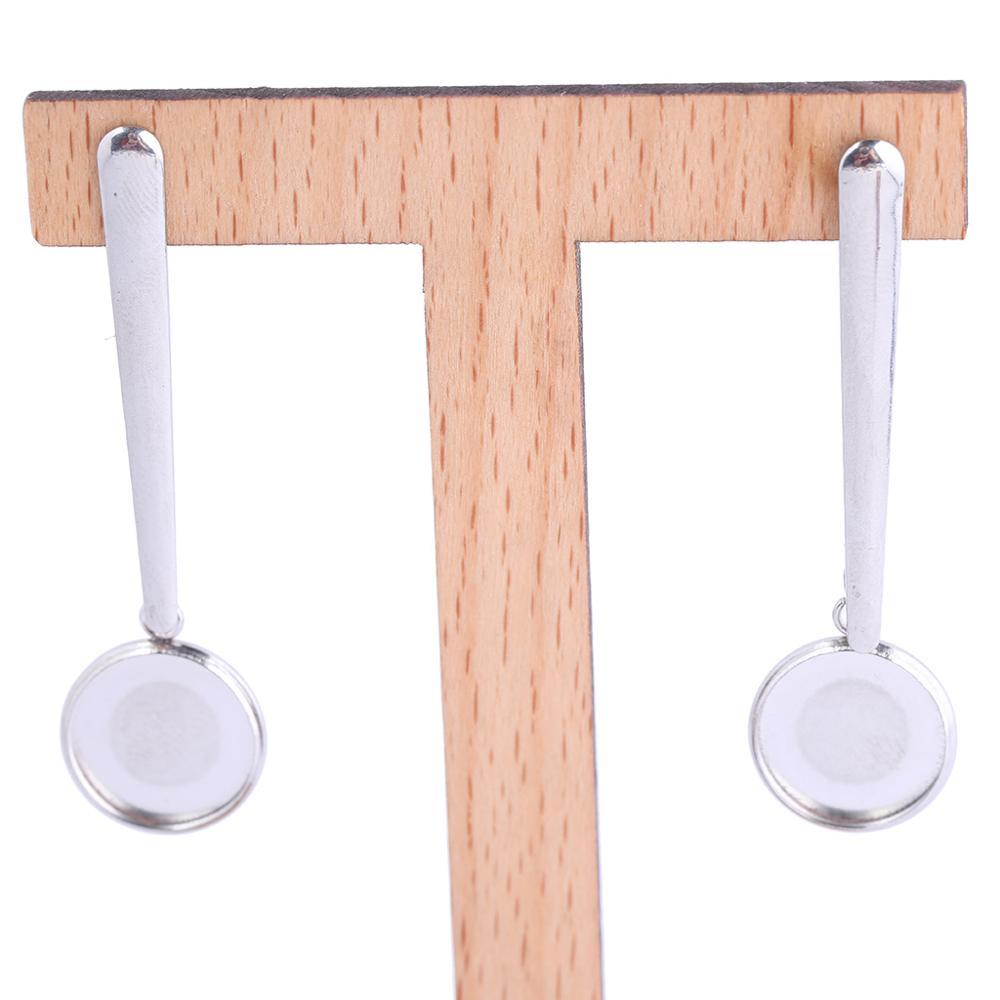 Onwear 10pcs Stainless Steel Bar Shape Post Earring Findings Studs Fit 12mm Cabochon Earrings Base Blanks Diy Bezel Settings