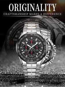 Wwoor ceasuri bărbați ceas cronograf cuarț negru top-brand sport de lux mare dial relojes