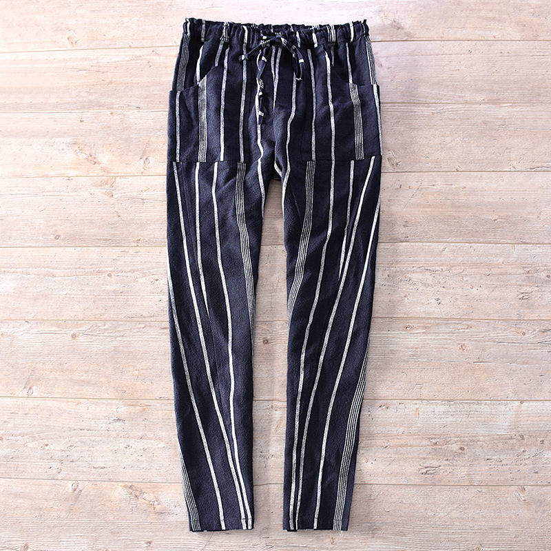 Spring New Style Men'S Wear Stripes Flax Casual Trousers Elastic Waist With Drawstring Linen Trousers Cotton Linen Elastic Pants