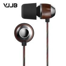 Originale VJJB K4 K4S di Legno Bass In Ear Ebano Auricolare Bass FAI DA TE Suono Magico di Aggiornamento Con Il Mic senza microfono