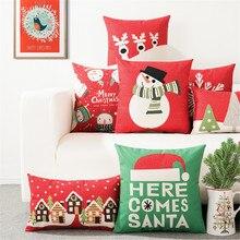 คริสต์มาสของขวัญฤดูหนาวSnowmanการ์ตูนปลอกหมอนMerry Christmas Happy New Yearเบาะรองนั่งตกแต่งสำหรับโซฟา