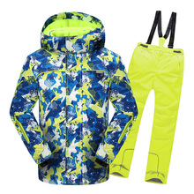 2021 Winter Boys Ski Suits Windproof Kids Snow Sets Hooded Flecce Children Clothing Sets Outdoor Jackets Pants Skiing Sportwear