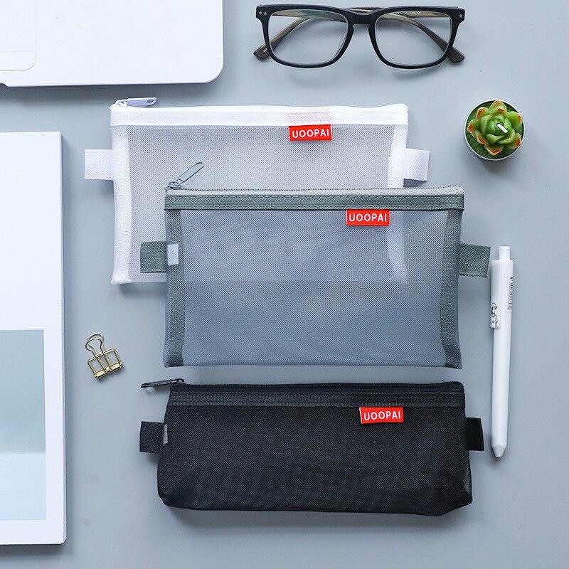 Transparent Mesh Pen Case Colors Grid Pencil Pouches Pen Bag For Students Exam Stationery Storage Bag School Office Supplies