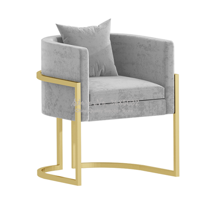 Customizable Nordic Ins Nail Chair Pink Comfortable Sofa Golden Leg With Pillow For Beauty Salon Shop