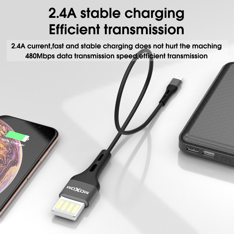 MOXOM Powerbank Cable 20CM Micro USB Fast Charging Data Cable For ...