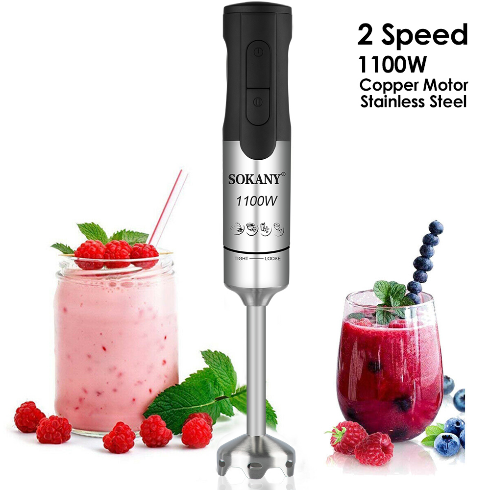 1100W 2 Speed Stainless Steel Kitchen Electric Blender Fruit Vegetable Nut Juice Smoothie Baby Food Mixer Portable Hand Blenders