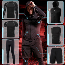 Men's Running Sports Suit Workout Tight Sport Clothing Set Jogging Training Clothes Fitness Compression Sportswear Gym Quick Dry цена и фото
