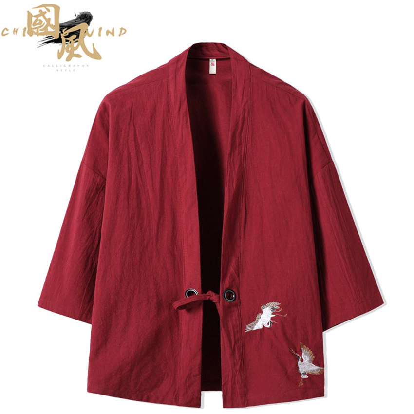 Crane Embroidery Haori Kimono Harajuku Japanese Style Plus Size Men Samurai Costume Yukata Asian Clothes Cardigan Women Jacket