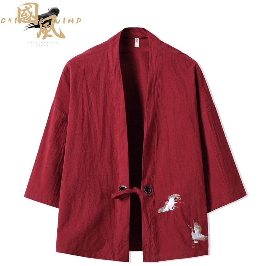 Crane Embroidery Haori Kimono Harajuku Japanese Style Plus Size Men Samurai Costume Yukata Asian Clothes Cardigan Women Jacket