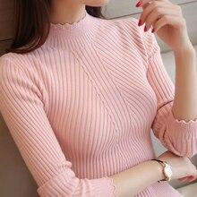 Turtleneck Sweater Ladies Pullover Jumper Ruffled Femme Female Tops Core-Spun-Yarn Slim