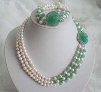 3 row 6-7mm white pearl &green jades necklace bracelet set
