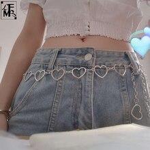 [LFMB]Women Belt Waist Chain High Quality Love Heart Hip Hop Style Fashion Fine Waist Belts 2021 Trendy belts