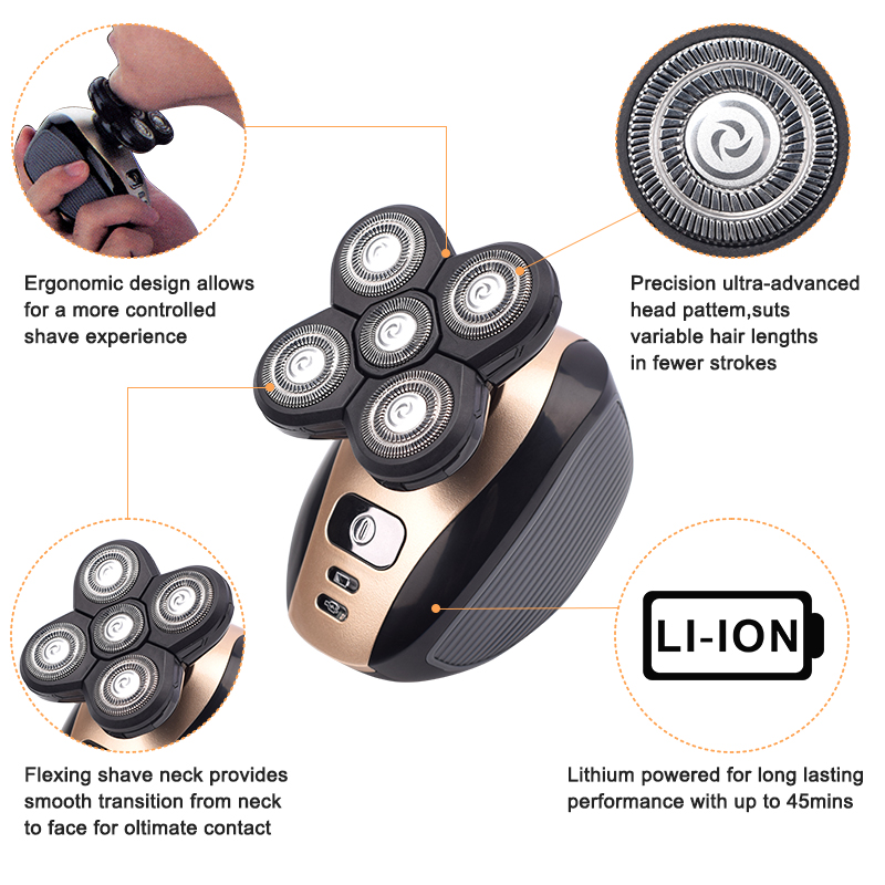 5 In 1 4D Men's Rechargeable Bald Head Electric Shaver 5 Floating Heads Beard Nose Ear Hair Trimmer Razor Clipper Facial Brush 5