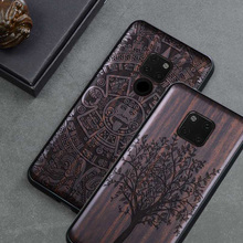 New For Huawei Mate 20 Pro Case Black Ebony Wood Cover For Huawei Mate 20 Carved TPU Bumper Wooden Case For Huawei Mate 20 X Pro