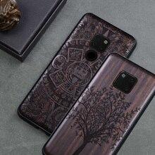 Nieuw Voor Huawei Mate 20 Pro Case Zwart Ebbenhout Cover Voor Huawei Mate 20 Gesneden TPU Bumper Houten Case voor Huawei Mate 20 X Pro