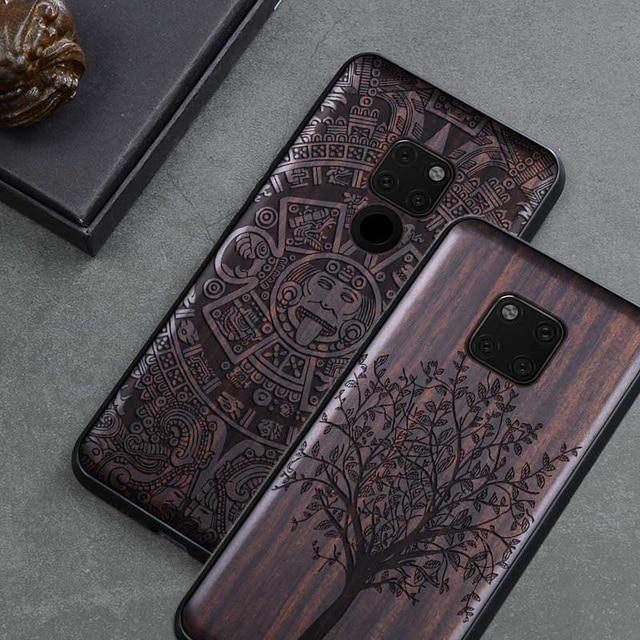 Novo Para Huawei Companheiro 20 Pro Caso Tampa de Madeira de Ébano Preto Para Huawei Companheiro 20 Esculpido Carros TPU Caso De Madeira para Huawei Companheiro 20 X Pro