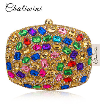 Chaliwini Multicolored Diamond Women Clutch Evening Bags Bridal Crystal Flower Handbags Purses Wedding Party Dinner Bag green crystal diamond flower floral purse fashion wedding bridal hollow metal evening purses clutch bag case box handbag female