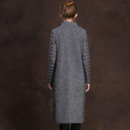 Hot Sale Winter Duck Down Patchwork Jacket Women Windbreaker New Long Warm Parkas Female Plus Size 2XL OutwearLX1015
