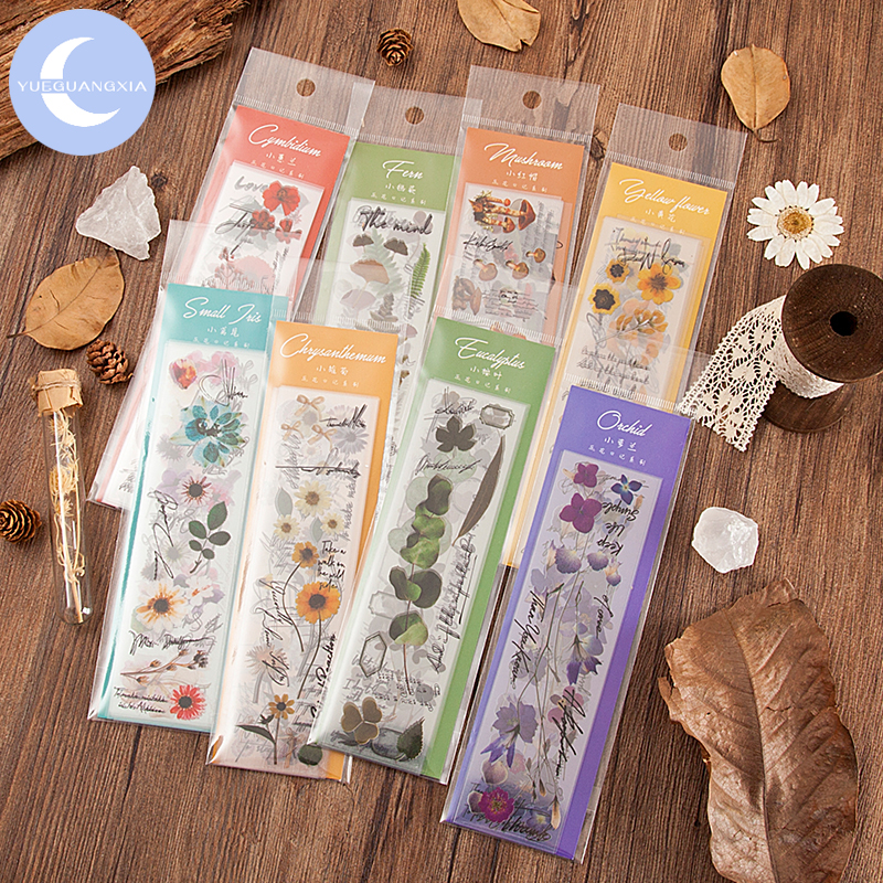 YueGuangXia Botany Series Plant Stickers Creative Bullet Journal Stationery School Scrapbooking Artistic Deco Stickers 8 Designs