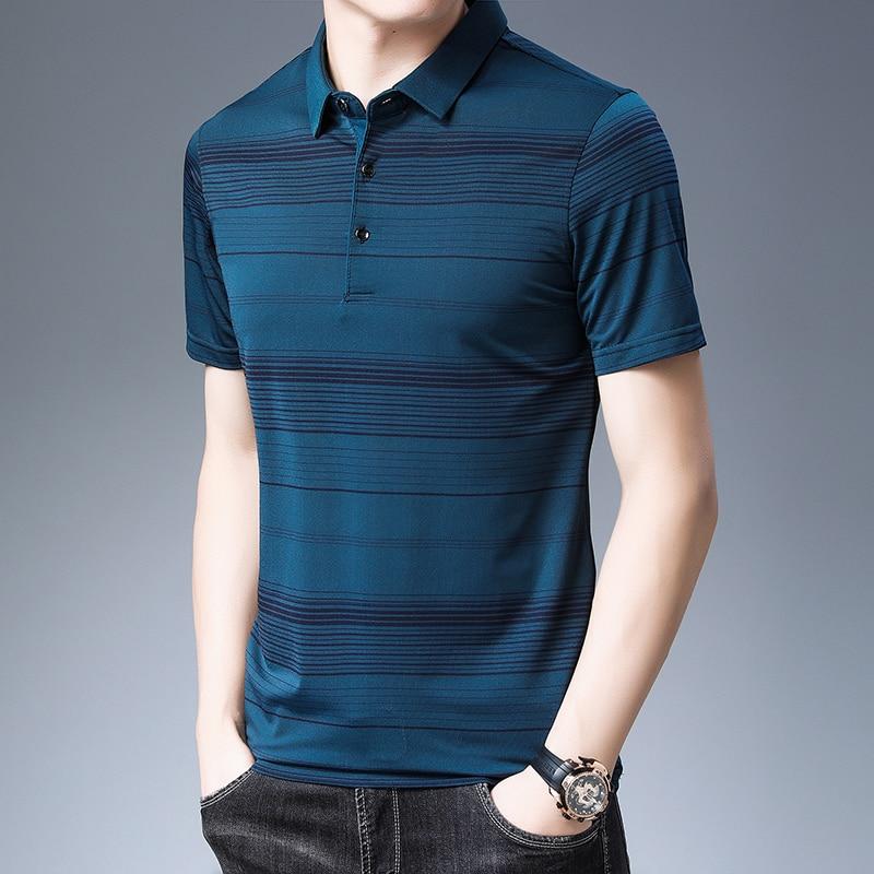 2020 Brand Casual Summer Striped Short Sleeve Polo Shirt Men Poloshirt Jersey Luxury Mens Polos Tee Shirts Dress Fashions 50548 2