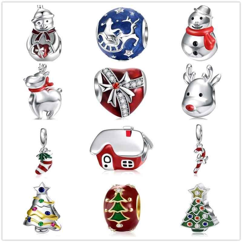 Jiayiqi 925 prata esterlina natal encantos para fazer jóias santa árvore de natal sapato cervos boneco de neve encantos diy pulseira contas