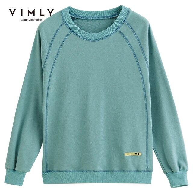 Vimly Hoodies Women Vintage O neck Loose Solid Harajuku Autumn Pullover Female Sweatshirt Sudaderas F0665 5