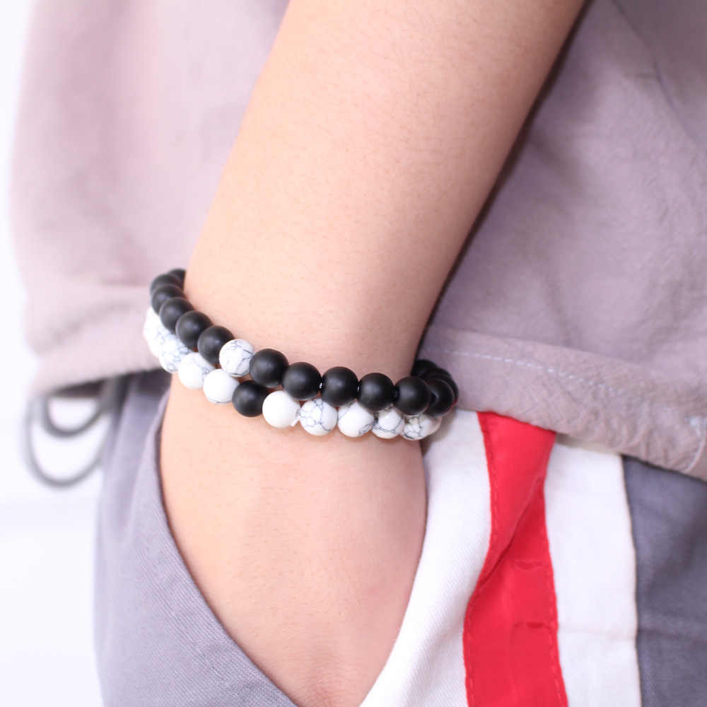 Modny czarny biały kamień koraliki dystansowe bransoletka turmalin lawy jogi Strand opaska na rękę dla kobiet mężczyzn para bransoletki biżuteria