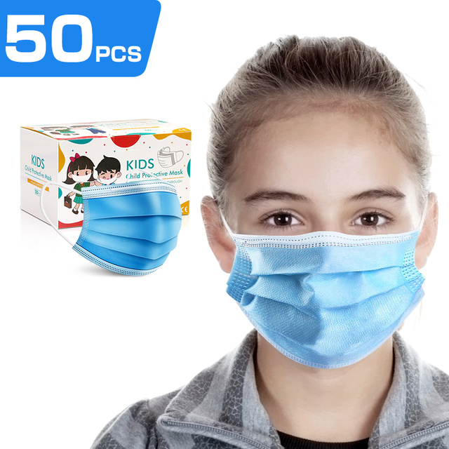 10pcs/50pcs High-quality disposable 3 layers Non-Woven safe mask filter kids mouth mask ear hanging breathable child face masks 1