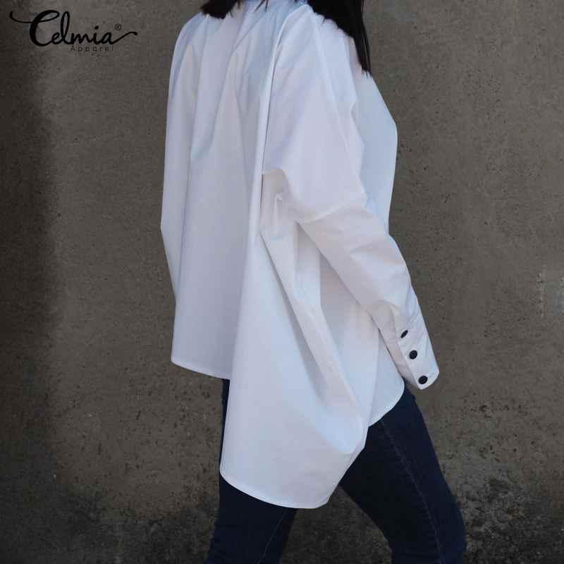 2019 Женская модная однотонная блузка, Женское пальто с рукавами летучая мушь, свободная туника с лацканами, топы, большие размеры, оригинальные блузы на пуговицах, Femme Blusas