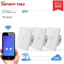 Itead Sonoff T0EU TX סדרת Wifi קיר מגע חכם מתג שלט רחוק זמן לוח זמנים באמצעות eWeLink עובד עם Alexa Google בית