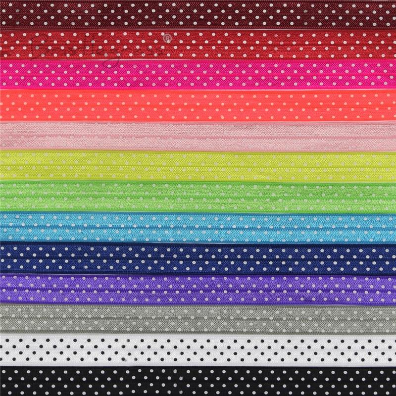 Эластичная атласная повязка для волос с принтом в горошек, 5 ярдов, 5/8 дюйма, 15 мм