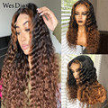 Brazilian Kinky Curly Lace Front Wigs For Women Preplucked Colored Brown Curly Highlight Human Hair Wig Density 180 4x4 Lace Wig