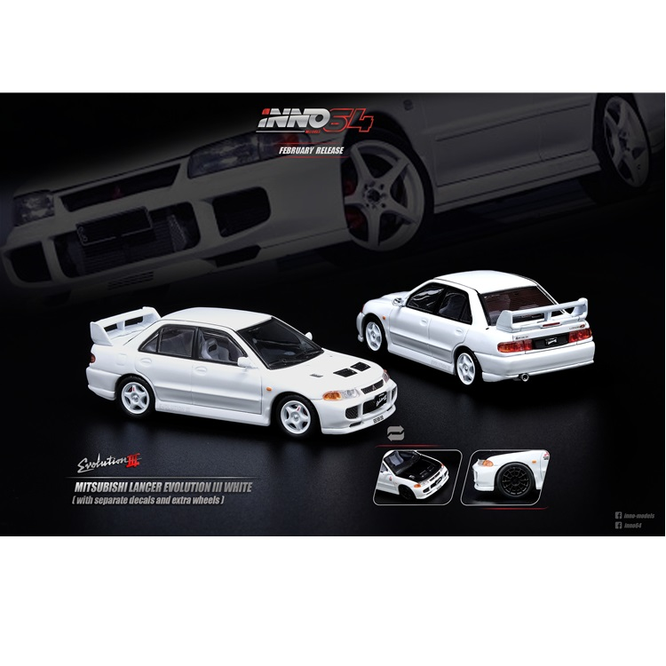 INNO64 1:64 Mitsubishi Lancer Evolution III White With Sperate Decals And Exrea Wheels Die-cast Model Car