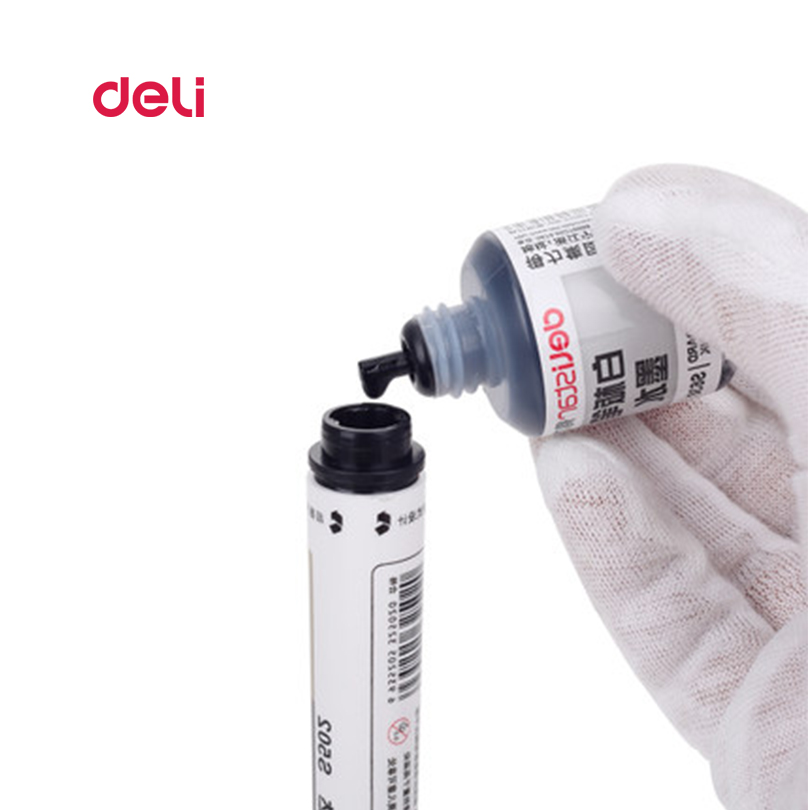 Deli Erasable Whiteboard Marker Pen 1 Pcs Blackboard + 1 Ink Bottle Set Office Markers Dry Erase Blue Black Red Office Supplies