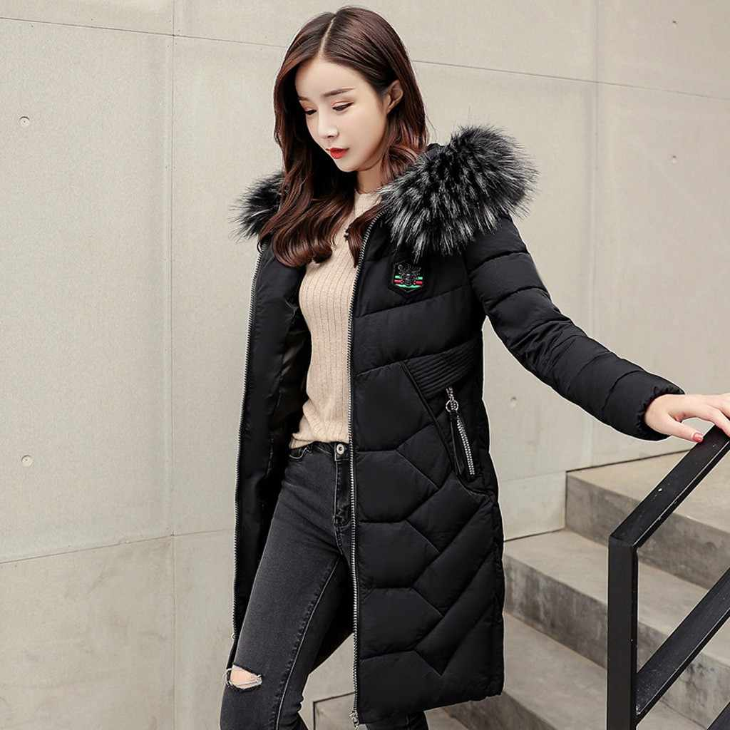 Verdicken Frauen fell kapuze parka Winter Mit Kapuze Zipper Windbreaker Mantel Baumwolle gefütterte Mantel Plus samt Outwear casaco feminino