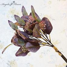 Feuilles d'eucalyptus artificielles ovales faites à la main, 5 branches, bouquet d'argent, ornements de décoration de maison, fausses fleurs, plantes vertes
