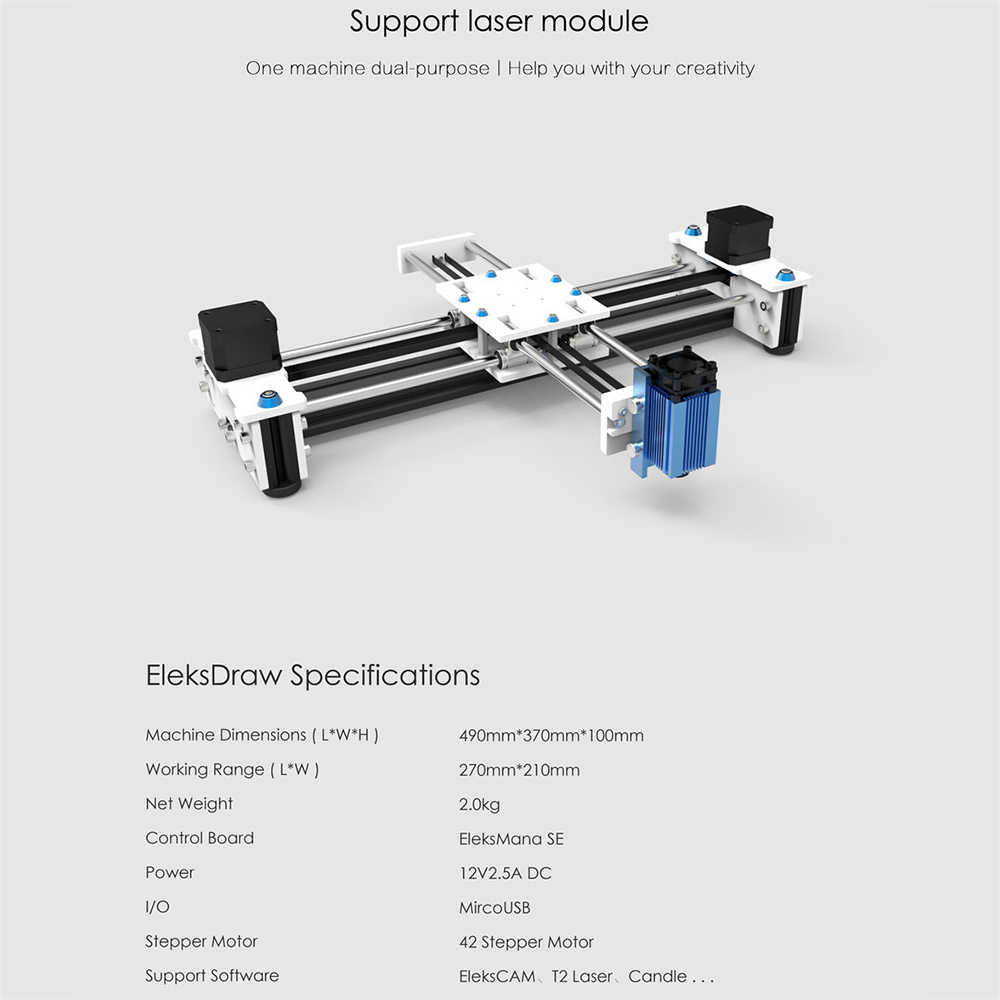 Eleksdrew bureau bricolage Plotte Laser Machine 2500mw Laser graveur traceur stylo dessin Robot dessin Machine 100-240V