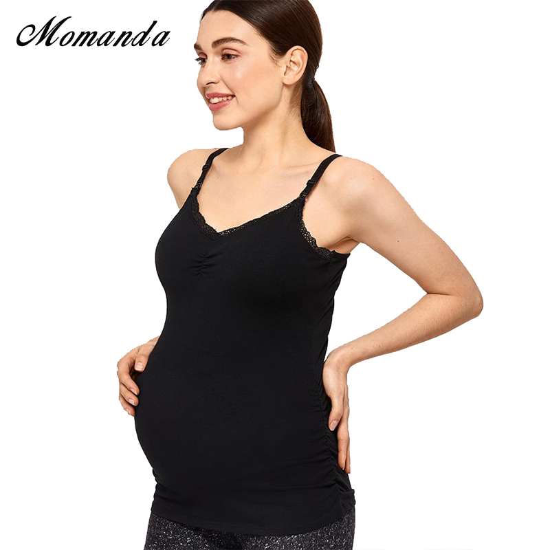 WOMEN FRONT BUCKLE PREGNANT NURSING VEST TANK TOP TRIM MATERNITY BREASTFEEDING