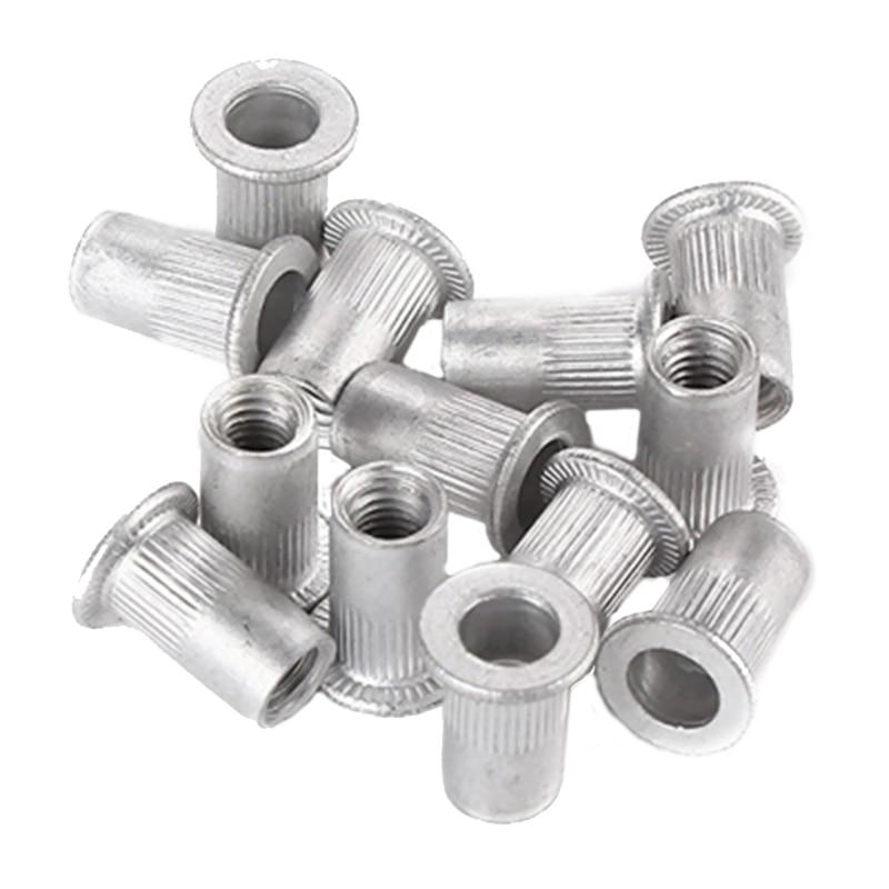 100pcs/set New 1/4-20 Aluminum Flange Nutserts Rivet Nut Kit Rivnut Nutsert Set Riveter Guns Parts Durable Tool Parts