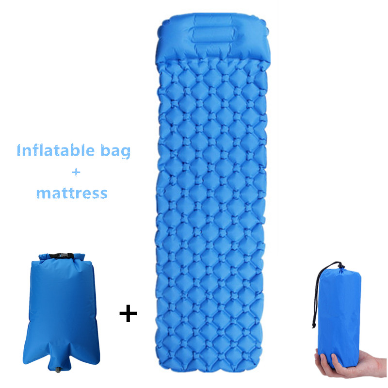 Inflatable Sleeping Pad With Inflatable Bag Inflatable Air Cushion Camping Mat With Pillow Air Mattress Sleeping Inflatable Sofa