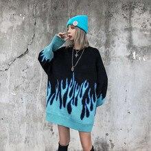Long flame blue – Pull à col rond pour femmes, grande taille, bleu, hiver, automne, nouveau, en vrac, 2021