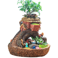 Hot Sale Creative Pastorale Resin Plant Flower Bed Succulent Pot Planter Bonsai Box Plant Bed With Light Starry Night Fairy Tale