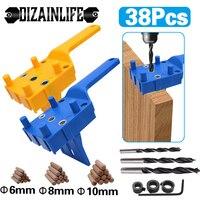 Espigas de madera plantilla herramienta golpe de guía de broca de Kit con portapiezas con orificios broca de carpintería agujero perforado para la Junta con pasador