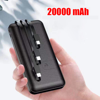 20000 mAh Portable Power Bank Fast Charger Powerbank Built in 3 Cables External Battery Charger For iPhone Xiaomi Mi Poverbank