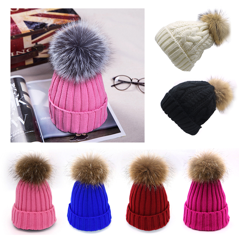 2019 Autumn Winter Women Knitted Hats Fashion Warm Pom Pom Wool Hat Ladies   Skullies     Beanie   Solid Color Female Outdoor Ski Caps
